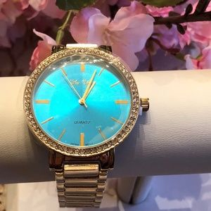New! Geneva Turquoise Face w/ Crystals Trim Watch